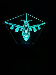 3d-светильник Самолет пассажирский, 3д-ночник, несколько подсветок (на пульте), подарок для летчика