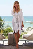 Туника-накидка пляжная легкая с кружевами, белая, фото 1