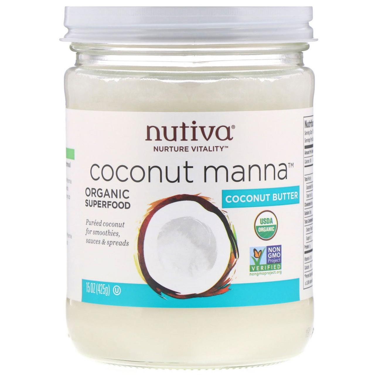Кокосовое пюре Coconut Manna, для веганов, 425 г Nutiva