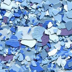 Вінілові чіпси, Blue Sapphire, відерце. 3 кг. Цветные чипсы для напольных покрытий. Розмір 3 (3-5 мм)