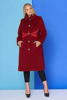Демисезонное женское кашемировое пальто больших размеров ТПТ М-813 (бордо) (размер 54)