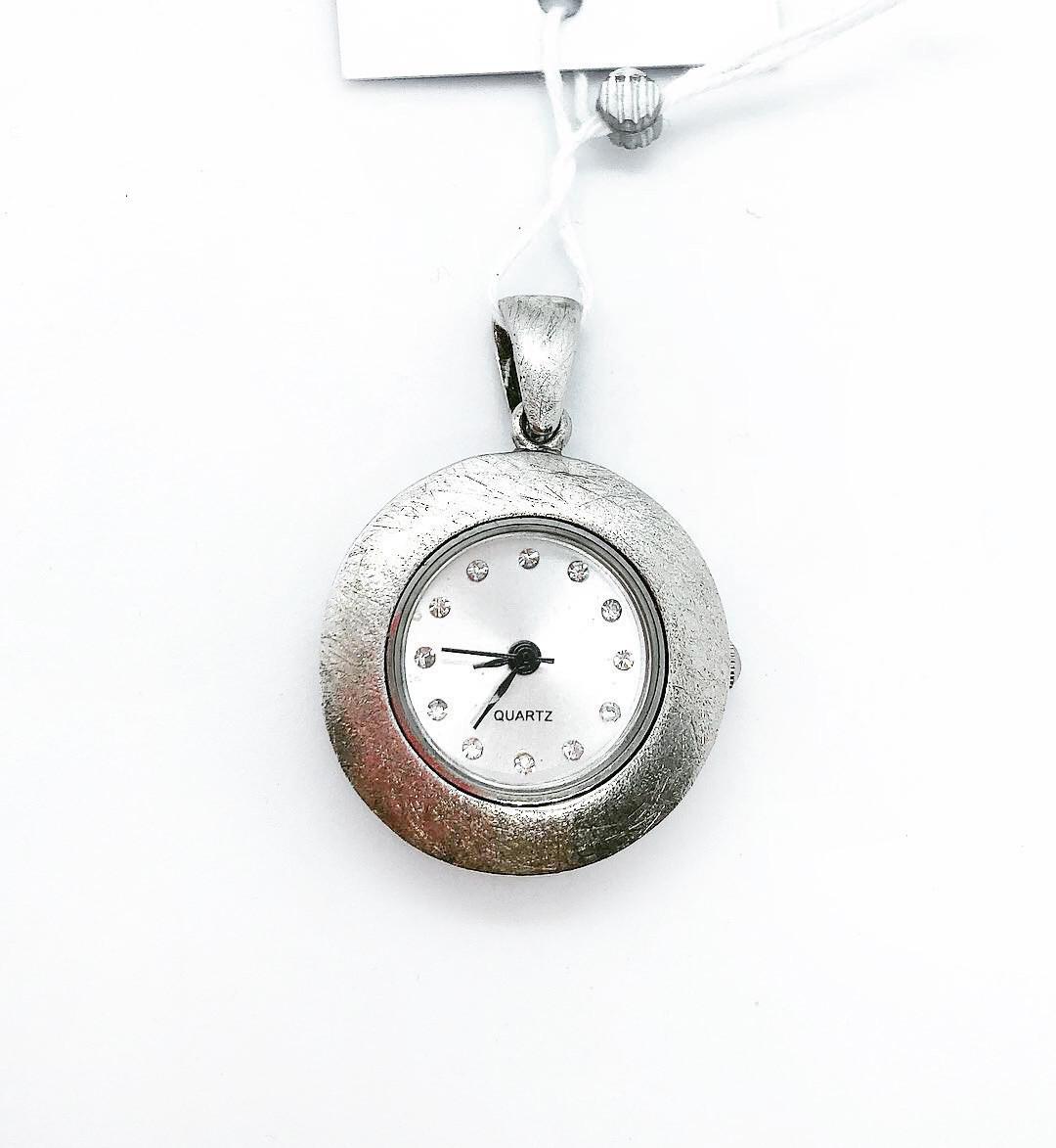 Часы - подвеска кварцевые из серебра 925 Beauty Bar фактура пескоструй