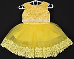 """Платье нарядное детское """"Милена"""" с кружевом. 1.5-2 года. Желтое. Оптом и в розницу"""