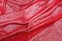 Сетка стрейч точка красная , № 628, фото 1