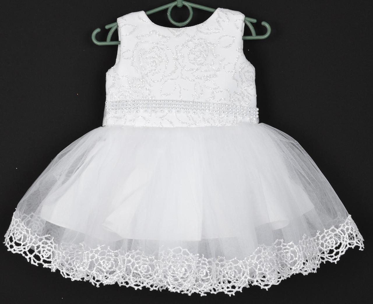 """Платье нарядное детское """"Санта"""" с розочками. 1.5-2 года. Белое. Оптом и в розницу"""