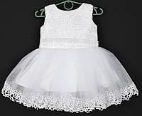 """Платье нарядное детское """"Санта"""" с розочками. 1.5-2 года. Белое. Оптом и в розницу, фото 1"""