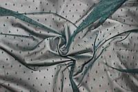 Сетка стрейч точка зеленый темный, № 629, фото 1