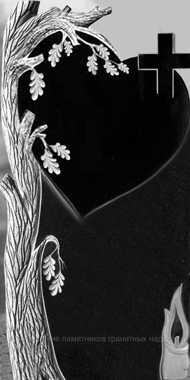 Резка гранитной стелы (дуб, крест, сердце, свеча)
