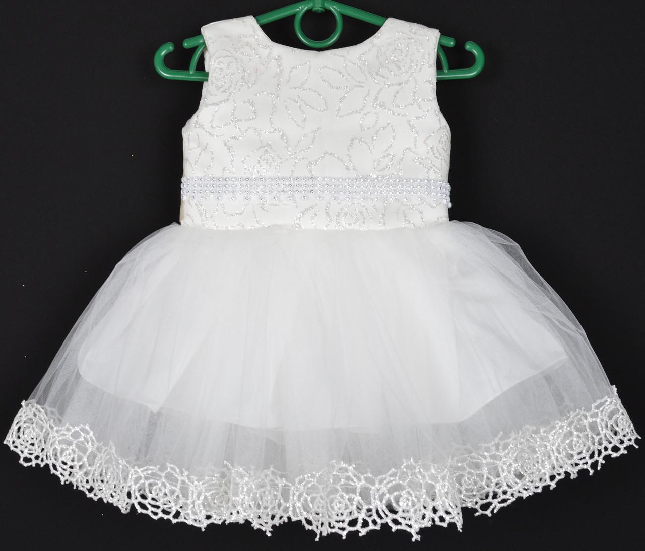 """Платье нарядное детское """"Санта"""" с розочками. 1.5-2 года. Молочное. Оптом и в розницу"""