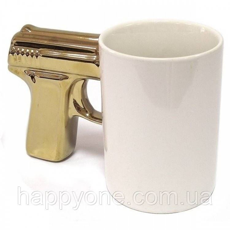 Чашка «Пистолет белая с золотой ручкой» (300 мл)