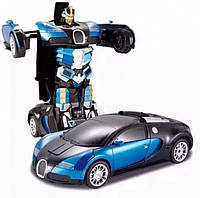 Машинка-трансформер Autobots Bugatti Veyron Синяя на радиоуправлении 1:14