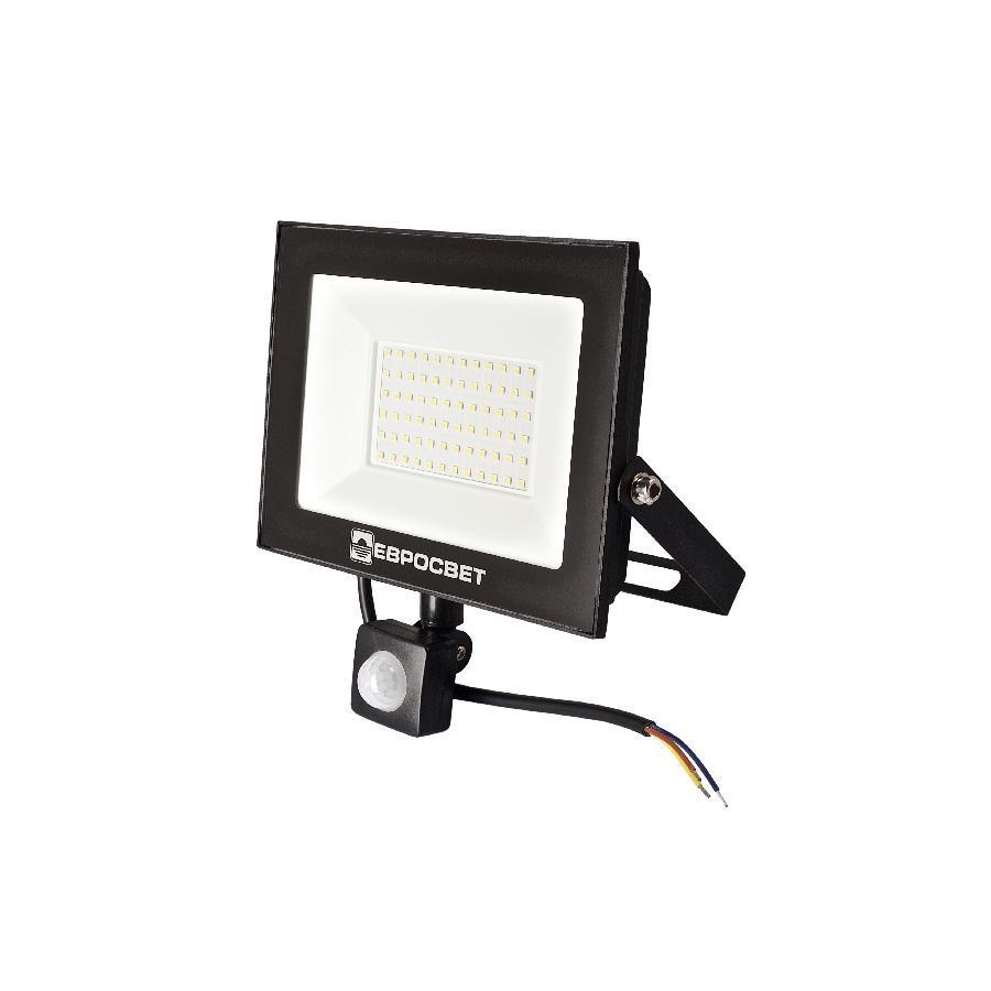 Прожектор светодиодный ЕВРОСВЕТ 50Вт с датчиком движения EV-50-504D 6400К