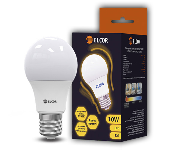 Світлодіодна LED лампа ELCOR 534320 Е27 А60 10Вт 1030Лм 2700К