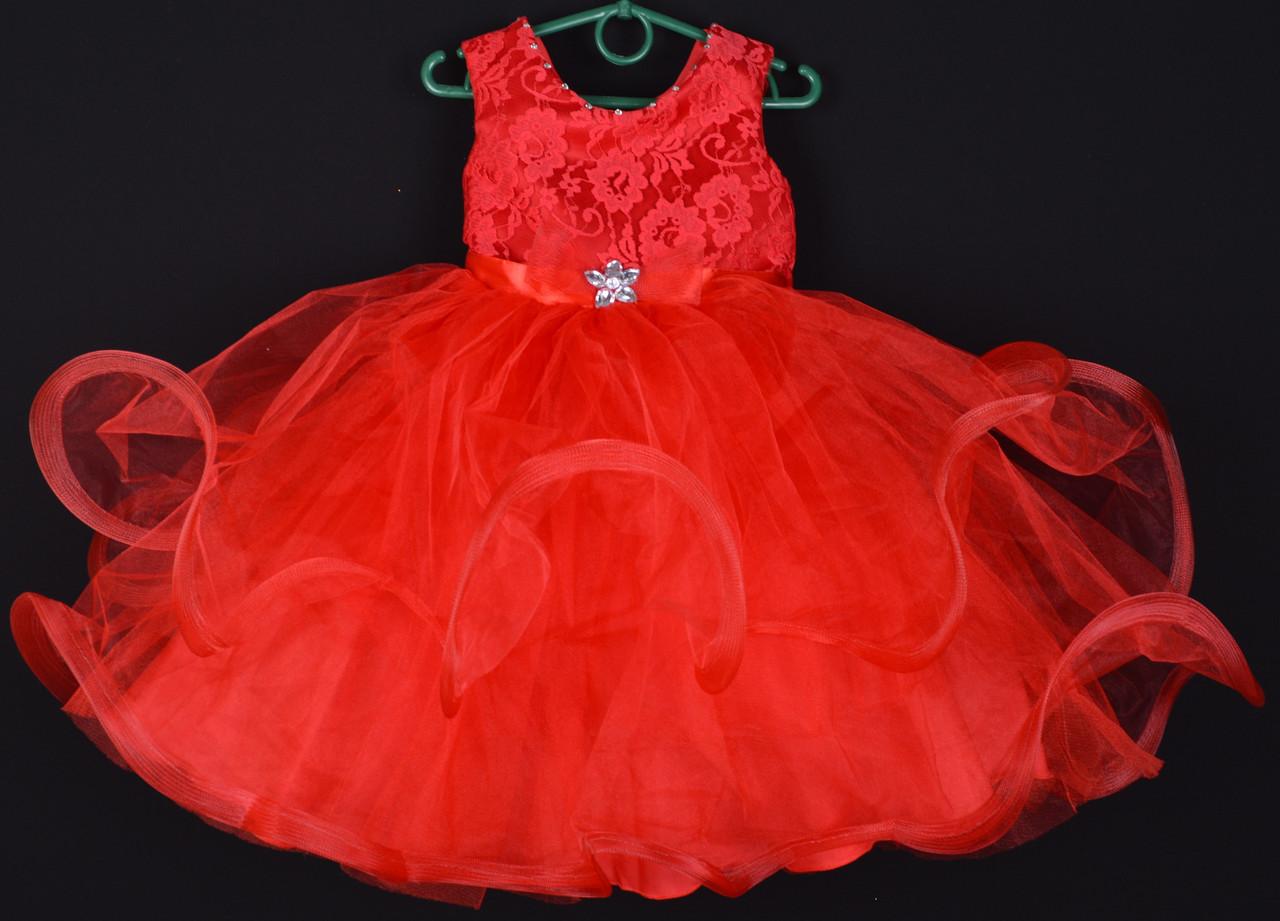 """Платье нарядное детское """"Пушинка"""". 3-4 года. Красное. Оптом и в розницу"""