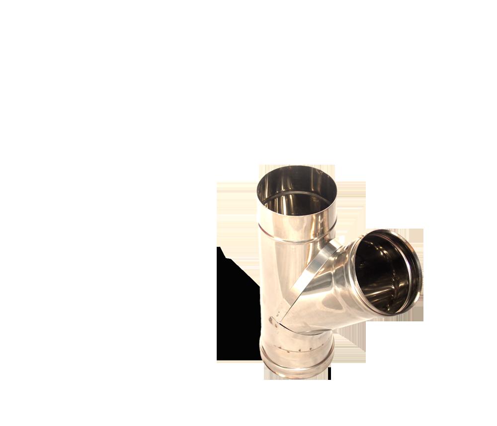 Версия-Люкс (Кривой-Рог) Тройник угол 45, нержавейка, толщиной 0,5 мм, диаметр 120мм