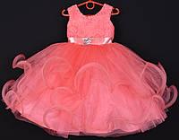 """Платье нарядное детское """"Пушинка"""". 3-4 года. Коралловое. Оптом и в розницу, фото 1"""