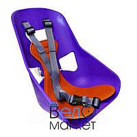 Легковесное Детское переднее велокресло, прочный пластик, на мужскую раму или багажник, фиолетовый