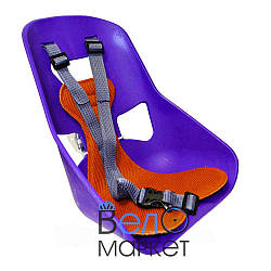 Легковажне Дитяче переднє крісло, міцний пластик, на чоловічу раму або багажник, фіолетовий