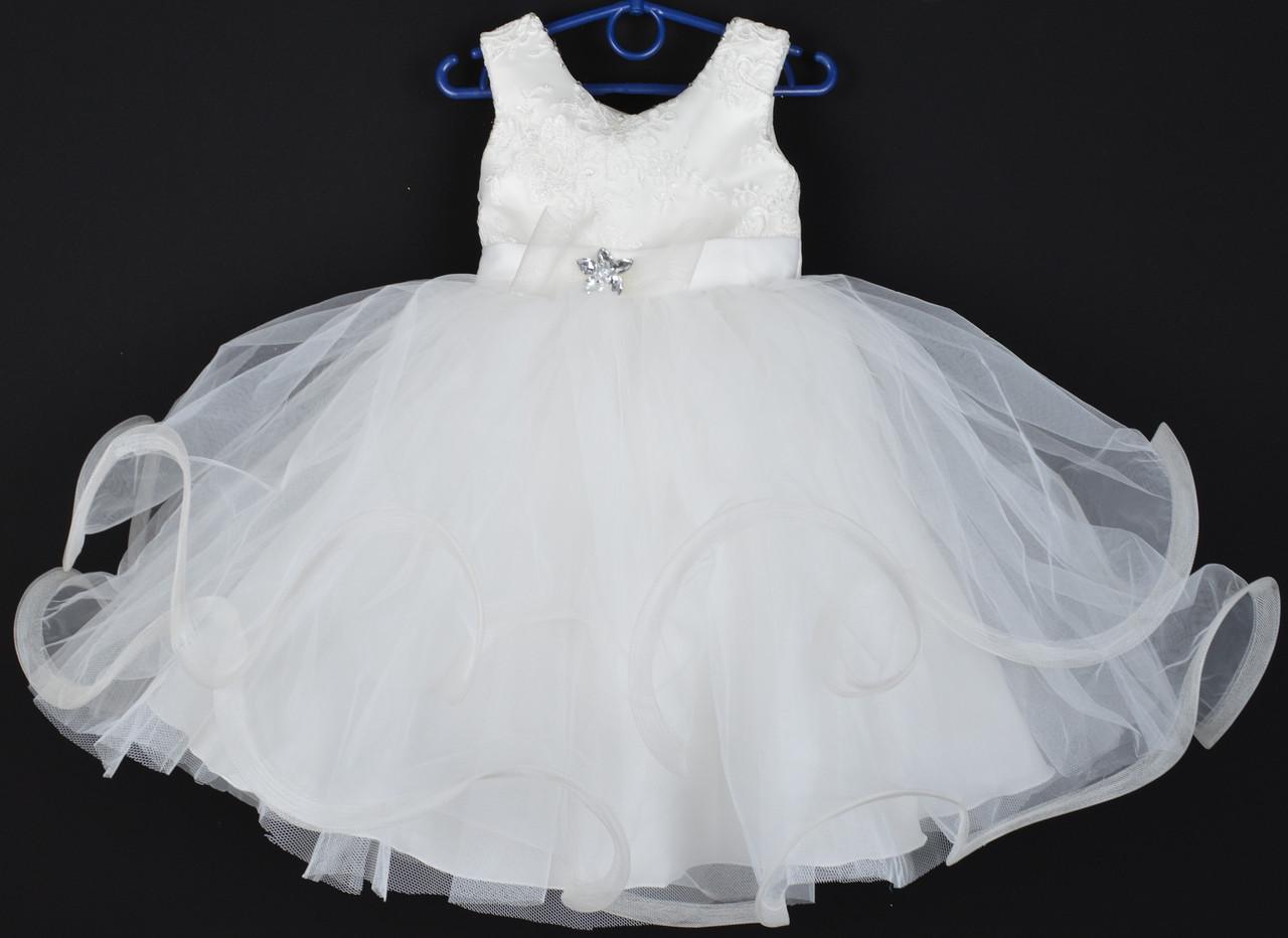 """Платье нарядное детское """"Пушинка"""". 3-4 года. Молочное. Оптом и в розницу"""