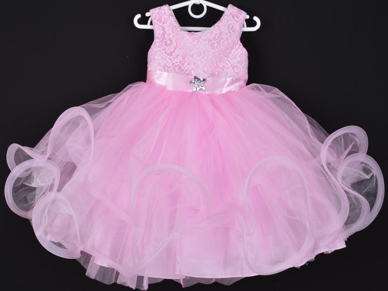 """Платье нарядное детское """"Пушинка"""". 3-4 года. Розовое. Оптом и в розницу"""