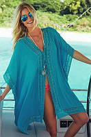 Туника-накидка пляжная легкая с кружевами, голубая, опт, фото 1
