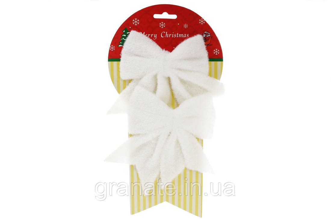 Набор(2 шт) декоративных бантов 13см, цвет - белый (12 наборов)