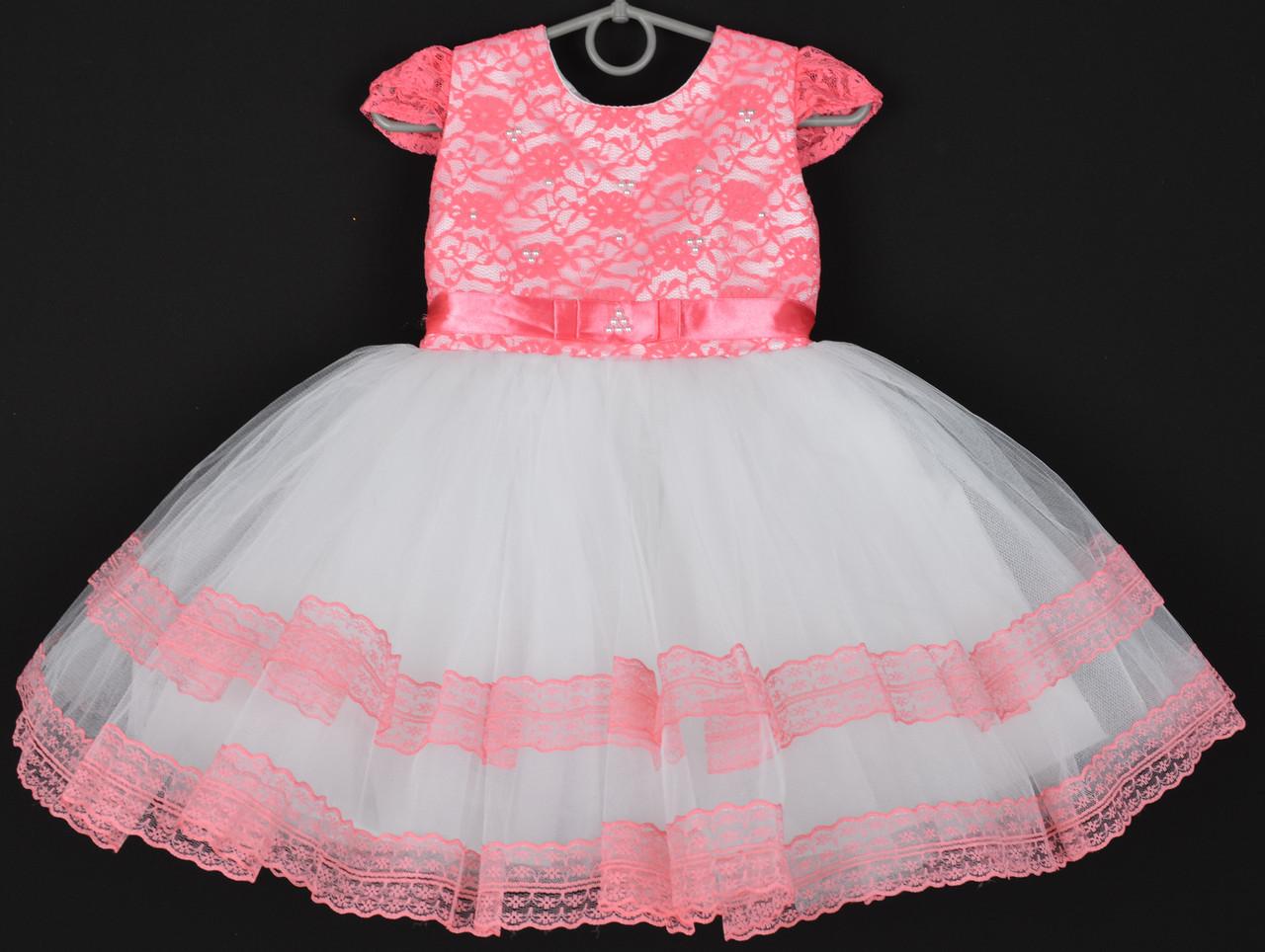 """Платье нарядное детское """"Лилия"""" с гипюром на корсете. 2-3 года. Кораллово-белое. Оптом и в розницу"""