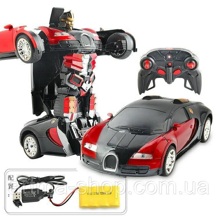 Машинка-трансформер Bugatti Veyron Красная на радиоуправлении 1:14
