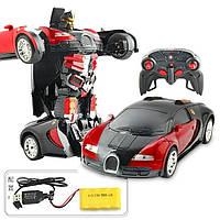 Машинка-трансформер Bugatti Veyron Красная на радиоуправлении 1:14, фото 1