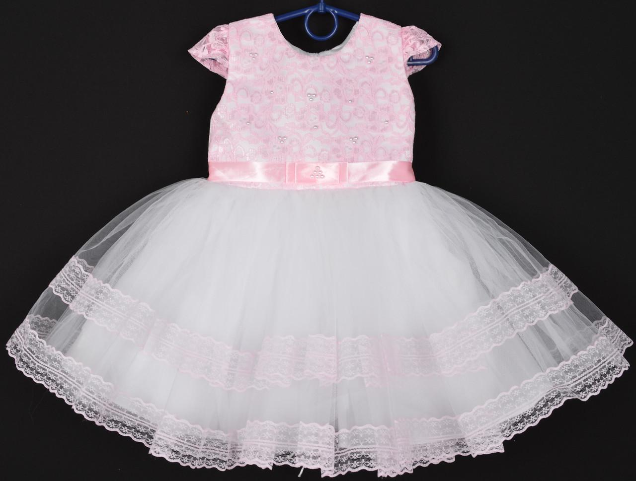"""Платье нарядное детское """"Лилия"""" с гипюром на корсете. 2-3 года. Розово-белое. Оптом и в розницу"""