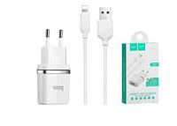 Зарядное устройство Hoco C11A Smart Dual 1 USB с кабелем Ligtning-USB