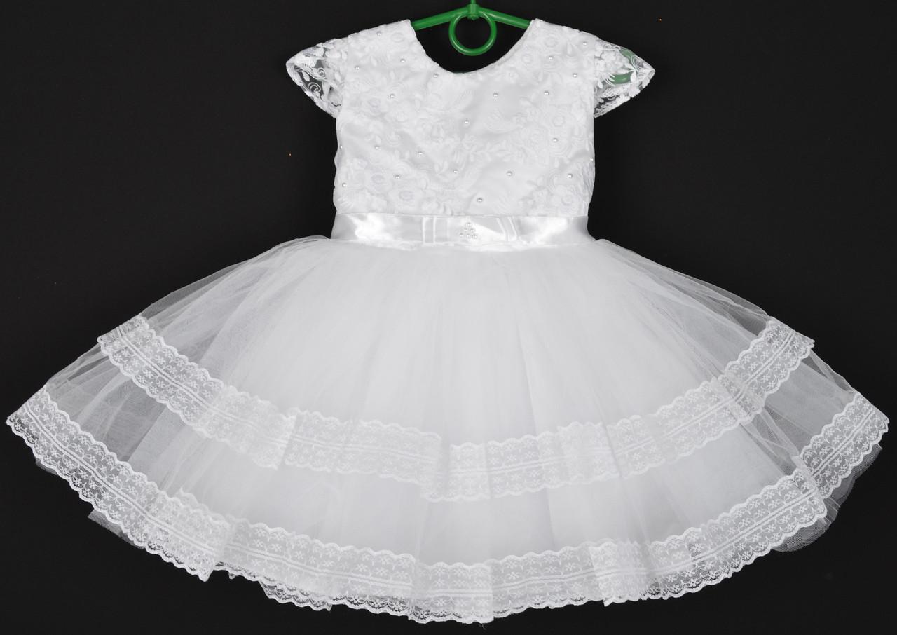 """Платье нарядное детское """"Лилия"""" с гипюром на корсете. 2-3 года. Белое. Оптом и в розницу"""