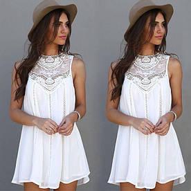 Женская легкая платье туника Белая S-M, L