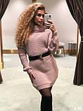 Стильне жіноче тепле в'язане плаття - туніка, фото 2