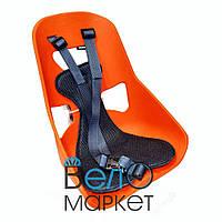 Легковесное Детское переднее велокресло, прочный пластик, на мужскую раму или багажник, оранжевый
