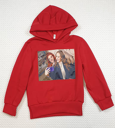 Батник теплый с ушками  на девочку 122-140 красный, фото 2