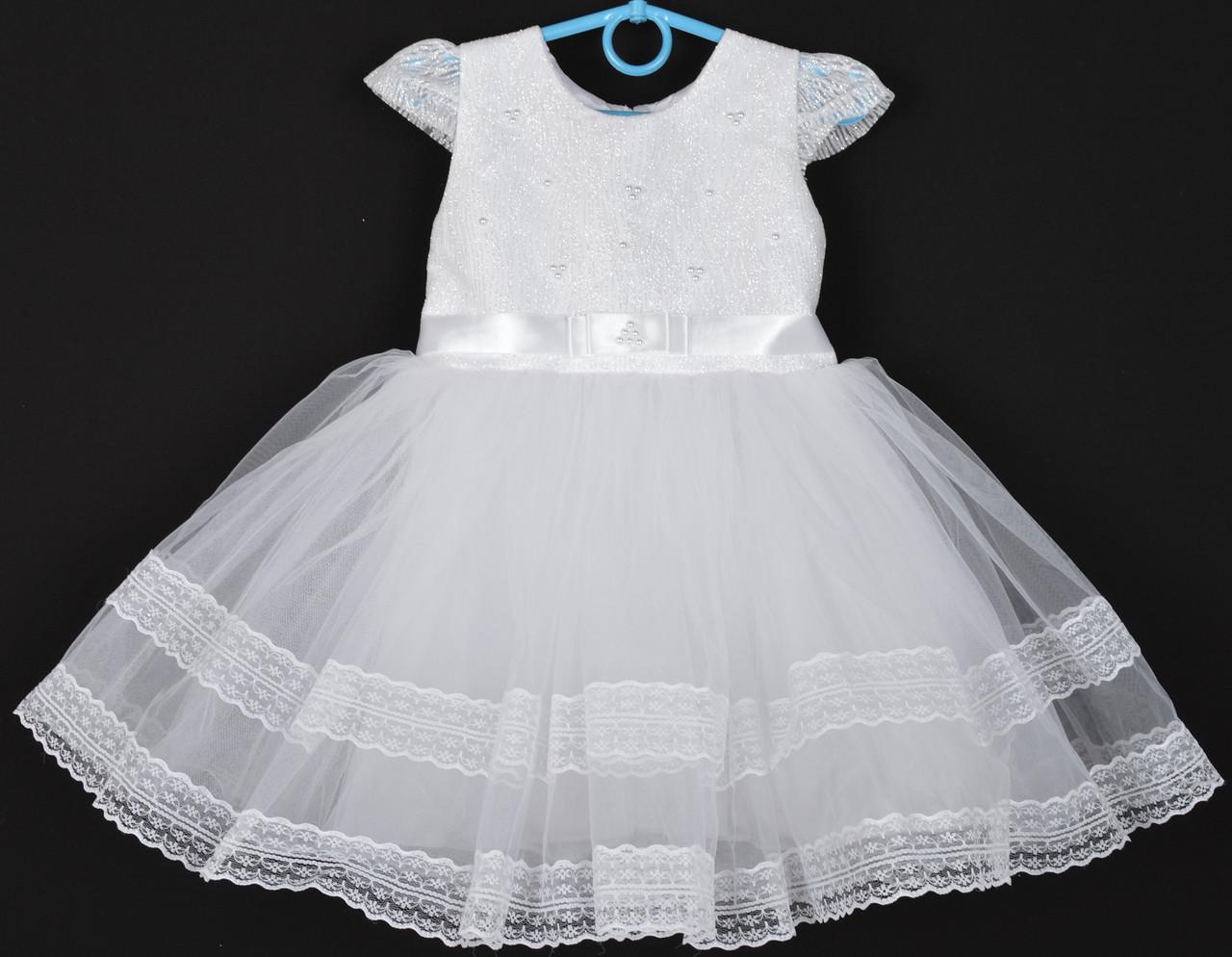 """Платье нарядное детское """"Лилия"""" с блестками на корсете. 2-3 года.Белое. Оптом и в розницу"""