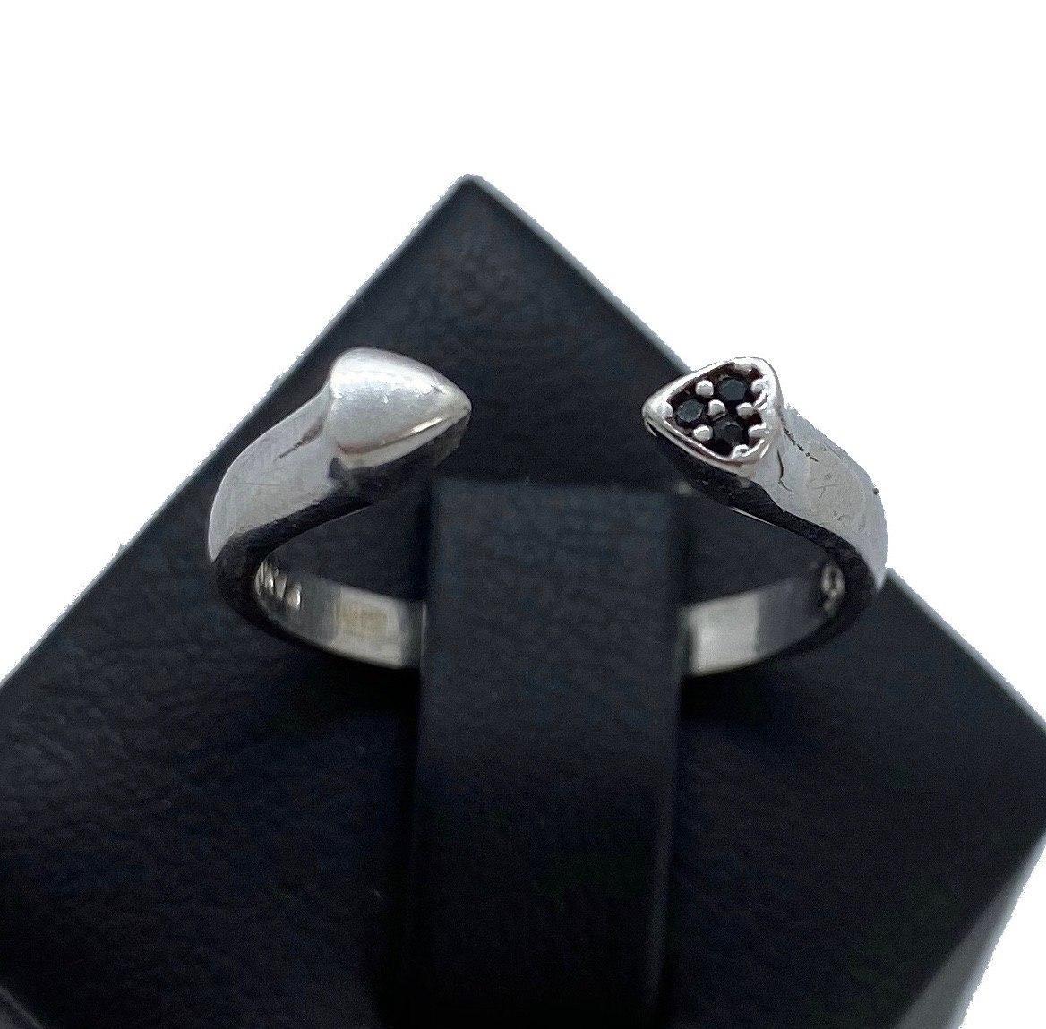 Кільце з срібла My Jewels з логотипом Pandora серце роз'ємне з чорними цирконами (розмір 17 - 18,5 )
