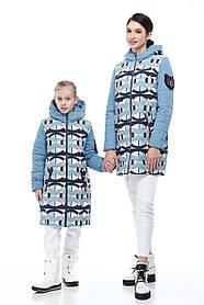 Зимний подростковый пуховик для девочки и мамы размеры 30-38, маме от 42 до 56