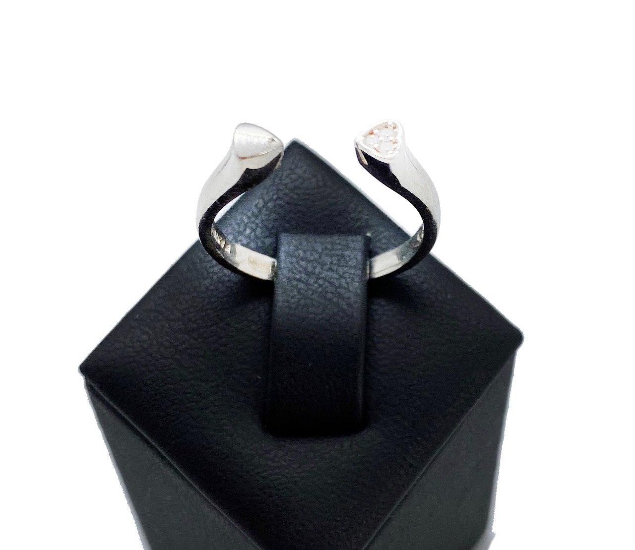 Кольцо из серебра Beauty Bar в стиле Pandora сердце разъемное с белыми цирконами (размер 17 - 18 ), фото 1