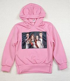 Батник теплый с ушками  на девочку 122-140 розовый
