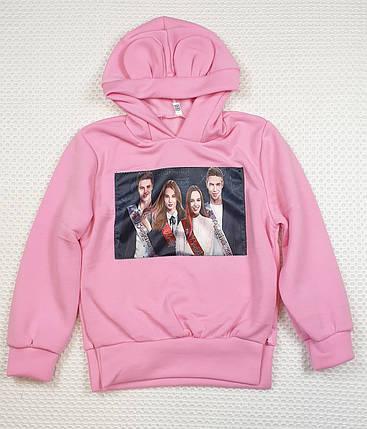 Батник теплый с ушками  на девочку 122-140 розовый, фото 2