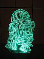 3d-светильник R2D2, Star wars, Звездные войны, 3д-ночник, несколько подсветок (батарейка+220В)