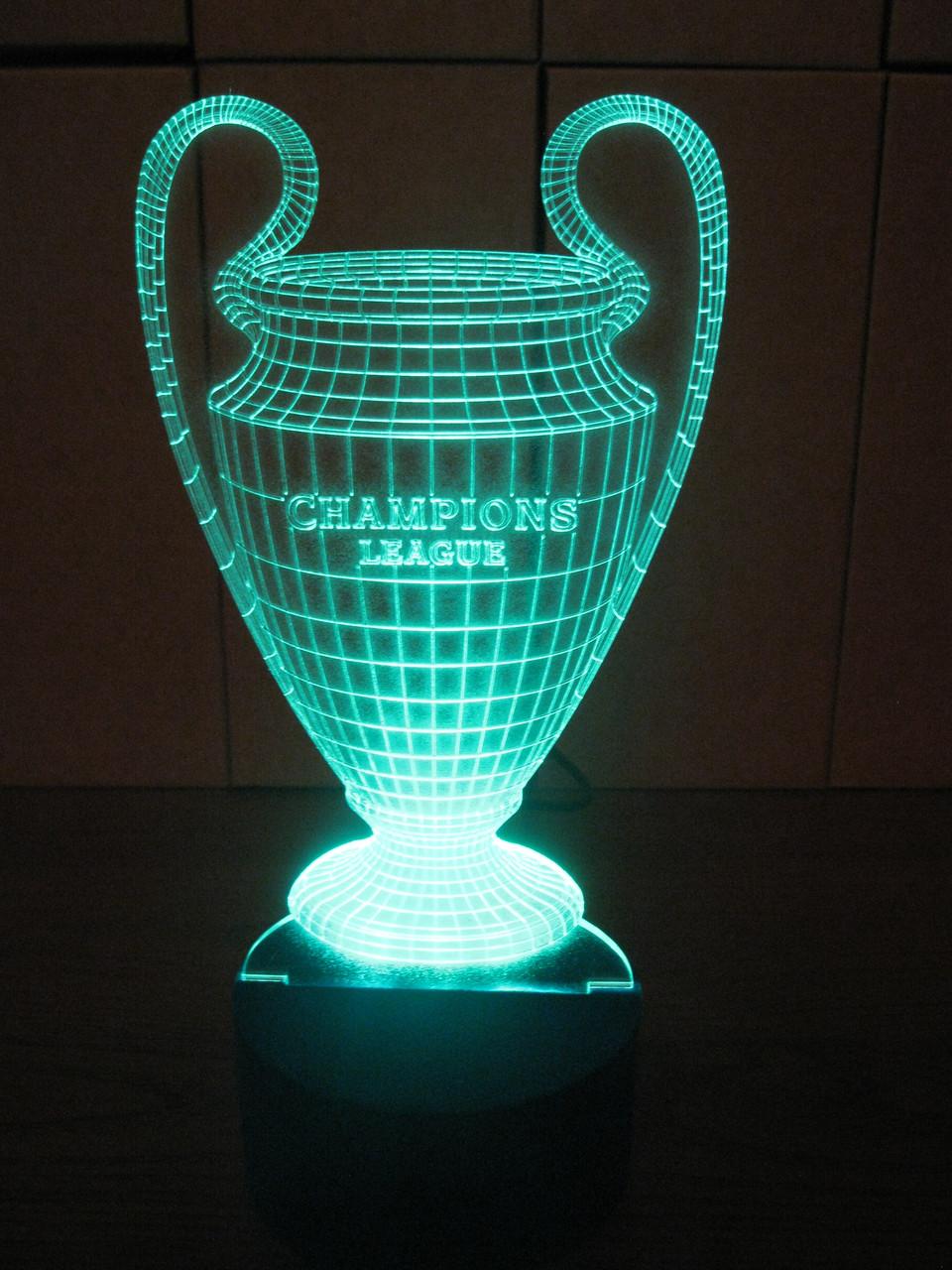 3d-светильник Кубок Лига Чемпионов, 3д-ночник, несколько подсветок (на пульте), подарок футбольному болельщику