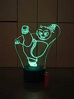 3d-светильник Панда Кунг-Фу, 3д-ночник, несколько подсветок (на батарейке)