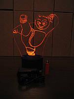 3d-светильник Панда Кунг-Фу, 3д-ночник, несколько подсветок (батарейка+220В)