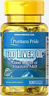 Омега Puritan's Pride - Cod Liver Oil 415 мг (100 капсул)