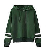 """Стильная женская толстовка худи с длинным рукавом """"SportStyle"""" в зеленом цвете"""
