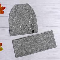 Набор шапка с бусинами и шарф-хомут из ангоры, фото 1