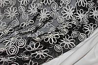 Ткань сетка черная не стрейч,  формодержащая, декор цветами цвета молочный.  № 635, фото 1